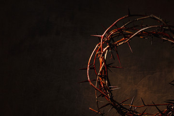 Crown of thorns illuminated on a dark background Wall mural