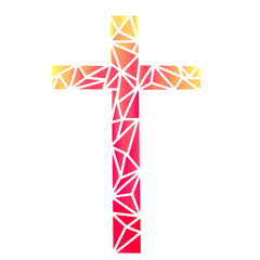 The Christian Cross abstract, triangles texture, abstract illustration