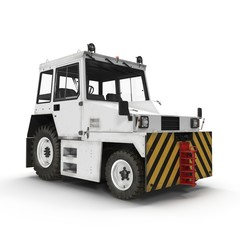Diesel Aircraft Tow Tractor on white. 3D illustration