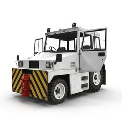 Aircraft Towing Tractor on white. 3D illustration