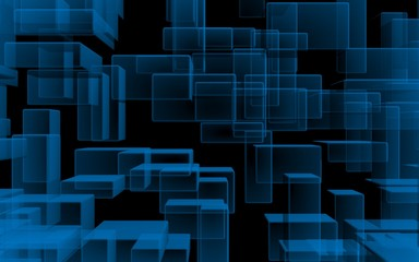 Blue and dark abstract digital and technology background. The pattern with repeating rectangles. 3D illustration