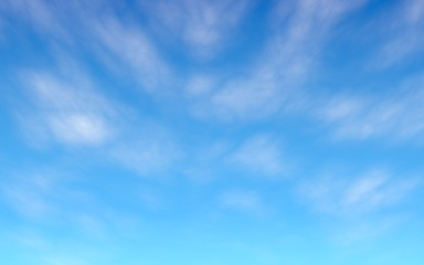 Cumulus white clouds in the clear blue sky in the morning. Blue sky background with white clouds. 3D illustration