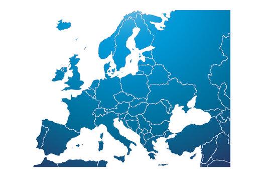 Mapa azul de Europa.