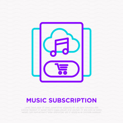 Music subscription thin line icon: music in cloud and shopping cart. Modern vector illustration.