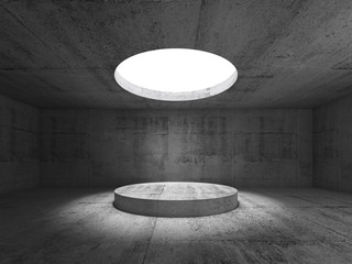 Concrete interior, showroom with ceiling light