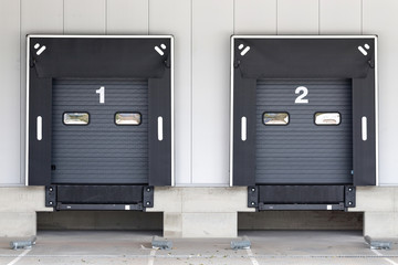 Poster Industrial geb. loading docks for trucks at warehouse