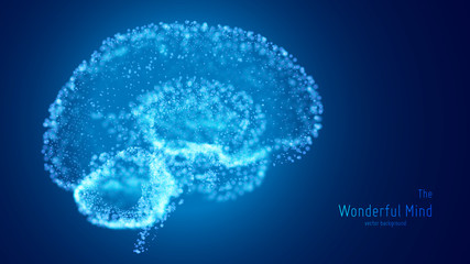 Vector blue illustration of 3d brain with glowing neurons and shallow depth of field. Conceptual image of idea birth or artificial intelligence. Shiny dots forms brain structure. Futuristic mind scan.