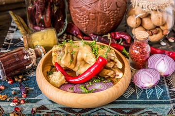 Stewed pork leg with chili pepper