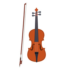 Violin icon. Vector illustration of brown violin with bow isolated on a white background. Stringed musical instrument