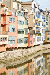 The colors of the midevil city, Girona, Spain,