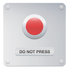 Do not press. Don't push the red button. Symbol for restraint, patience, withstand, composure or resistance.