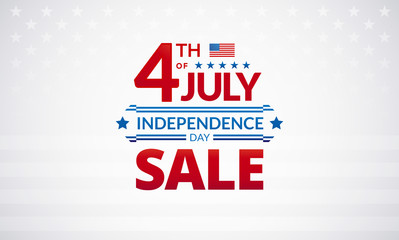 Happy 4th of July Independence Day USA sale banner or logo with American flag - vector illustration for 4th of July event