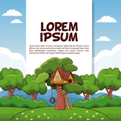 Kids park poster with information vector illustration graphic design