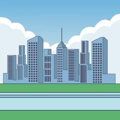 City buildings cartoon scenery vector illustration graphic design
