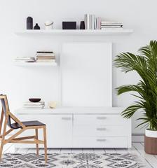 Mock-up poster in living room, Scandinavian style, 3d render
