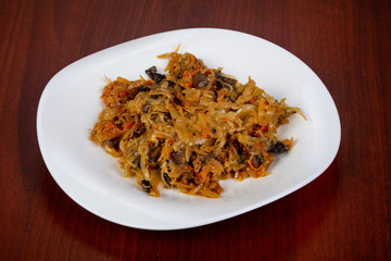 Cabbage with mushrooms