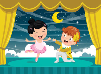 Vector Illustration Of Children Dancing