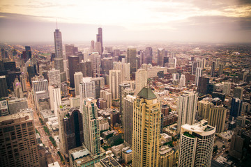 Wall Mural - Chicago Illinois skyline cityscape seen from above