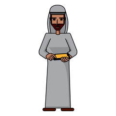 arabic man using a cellphone over white background, vector illustration
