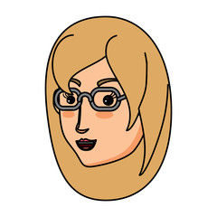 cartoon woman with glasses over white background, vector illustration