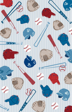 Baseball vector illustration. Hand drawn design elements. Red, white and blue. Sports theme print for background, fabric, textile.