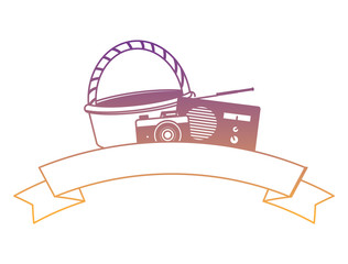picnic basket with photographic camera and radio with decorative ribbon over white background, vector illustration