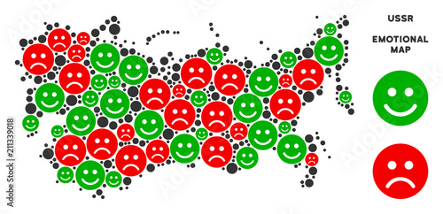 Emotion Ussr Map Collage Of Smileys In Green And Red Colors