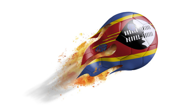 Flying Flaming Soccer Ball with Swaziland Flag