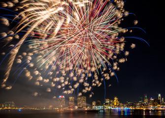 Fireworks over Delaware river