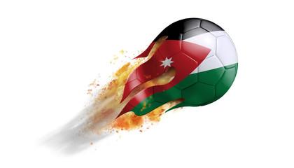 Flying Flaming Soccer Ball with Jordan Flag