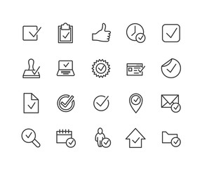 Simple Set of Approve Related Vector Line Icons. Contains such Icons as Thumbs up, Stamp, Check List and more. Editable Stroke. 48x48 Pixel Perfect.