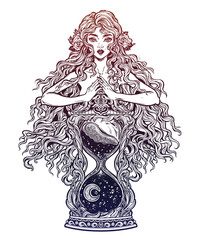 Beautiful woman as a goddess ot time holding decorative antique hourglass illustration.