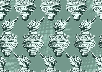Torch of the Statue of Liberty Seamless Pattern, vector illustration file.