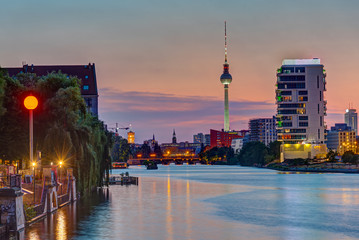 The River Spree in Berlin after sunset with the TV Tower in the back