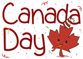 Cute Maple Leaf with Party Hat Celebrating Canada Day, Vector Illustration
