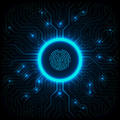 Abstract technology background. Cyber security concept. Fingerprint on circuit board vector background.