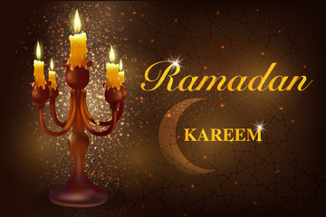 Ramadan with a crescent. Ramadan Karim is an Islamic crescent with candles. The Muslim holiday of the holy month of Ramadan Kareem.