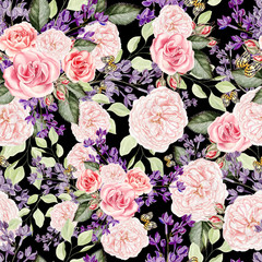 Seamless pattern with watercolor  lilac and roses flowers.