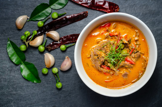 Thai red chili Panang curry with beef