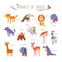 Funny African animals vector cartoon design