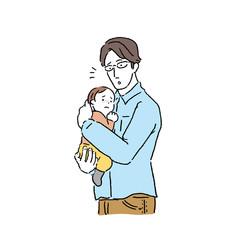 赤ちゃん 抱っこする 父親 イラスト