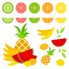 A set of colored insulated delicious fruits on a white background. Juicy, bright, delicious tropical food. Lime, lemon, grapefruit, orange, kiwi, banana, pineapple, watermelon.