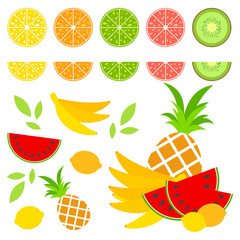 A set of colored isolated halves of mouth-watering fruits. Juicy, bright, delicious tropical food. Lime, lemon, grapefruit, orange, kiwi, a bunch of bananas, ineapple. Simple flat vector illustration.