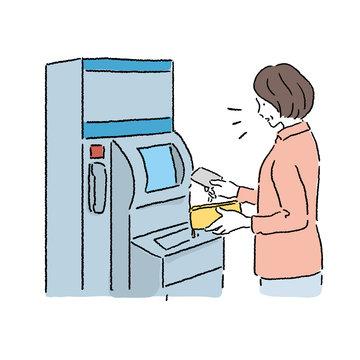 ATMを使う 中年女性 イラスト