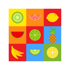 A set of colored insulated delicious fruits on squares of different colors. Juicy, bright, delicious tropical food. Lime, lemon, grapefruit, banana. Simple flat vector illustration.