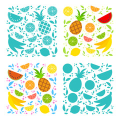 Four sets of isolated appetizing fruits on a white background. Different colors. Juicy, bright, delicious tropical food. Lemon, kiwi, banana, pineapple, watermelon, grapefruit, lime.