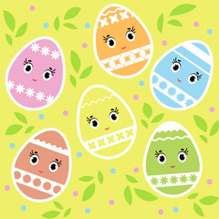 Set of cartoon cute colorful isolated Easter eggs on a yellow background. With an abstract striped pattern. Simple flat vector illustration. Suitable for decoration of postcards, advertising