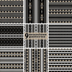 Set of seamless geometric textile patterns with dashed lines