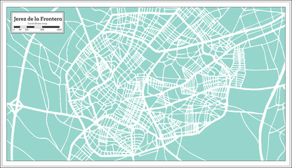 Jerez de la Frontera Spain City Map in Retro Style. Outline Map.