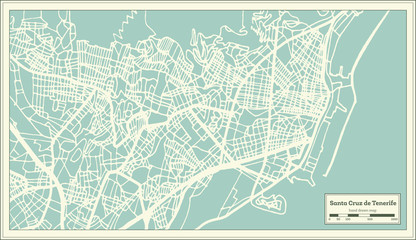 Santa Cruz de Tenerife Spain City Map in Retro Style. Outline Map.